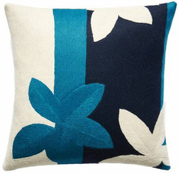JUDY ROSS WOOL PILLOW- SUNSET tropical blue/cream/navy
