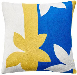 JUDY ROSS WOOL PILLOW- SUNSET yellow/cream/marine