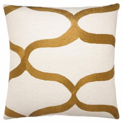 JUDY ROSS WOOL PILLOW- WAVES cream/gold rayon