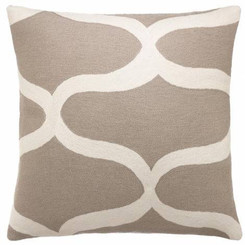 JUDY ROSS WOOL PILLOW- WAVES smoke/cream