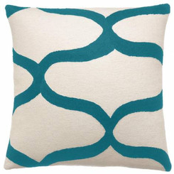 JUDY ROSS WOOL PILLOW- WAVES cream/peacock