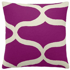 JUDY ROSS WOOL PILLOW- WAVES claret/cream