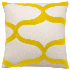 JUDY ROSS WOOL PILLOW- WAVES cream/yellow