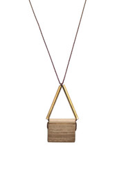 MARBLE AND BRASS TUBE NECKLACE ON BROWN SILK