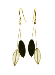 GLASS AND GOLD-PLATED BRASS EARRINGS