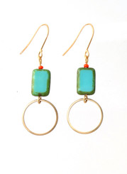 BLUE GLASS AND BRASS CIRCLE EARRINGS