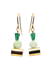GREEN AVENTURINE, OPAL AND BRASS TUBE EARRINGS