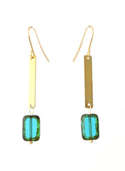 BLUE GLASS AND BRASS DROP EARRINGS