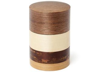 "Wazutsu 4-colored tea caddy 3. ¼ "" x 4. ¾ ""H - Walnut by Denshiro"