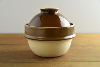 """(1cup/180ml/6oz) Rice Cooker Donabe Brown 5. ½""""D x 5""""H (with the lid)"""