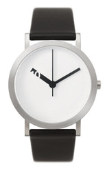 NORMAL TIMEPIECES- EXTRA NORMAL GRANDE WATCH (White with Black Leather Band)