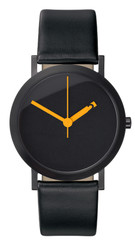 NORMAL TIMEPIECES- EXTRA NORMAL GRANDE WATCH (Black Face with Black Leather Band) design by Ross McBride EN-GM09