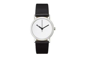 NORMAL TIMEPIECES- EXTRA NORMAL WATCH (White Face Black Leather Band)