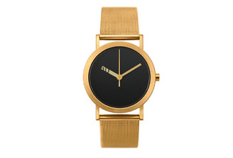 NORMAL TIMEPIECES- EXTRA NORMAL WATCH (Black Face Gold Mesh Band)