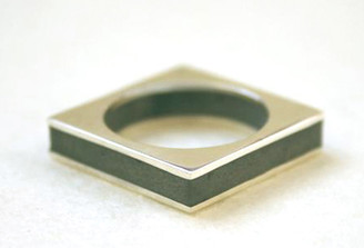 LAYERS SILVER SQUARE RING by Hadas Shaham