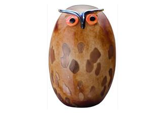 """IITTALA GLASS BIRDS BY TOIKKA Uhuu 6.5"""" x 9.75"""""""