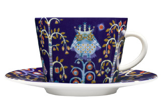 (Set of 4) IITTALA TAIKA COFFEE/TEA CUP WITH SAUCER 11.75 oz., BLUE