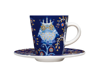 (Set of 4) IITTALA TAIKA ESPRESSO CUP WITH SAUCER 3.25 oz., BLUE
