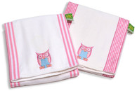 Set of 3 Burp Cloths - Owl