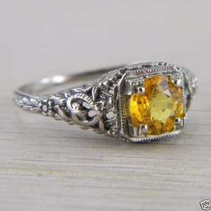 10K White Gold Solitaire Citrine Art Deco Filigree Vintage Ring