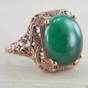 10K Rose Gold Victorian Era Solitaire Oval Cut Emerald Ring