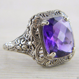 10K White Gold Solitaire Cushion Amethyst Art Deco Filigree Vintage Ring