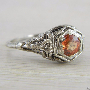 10K White Gold Orange Spinel Solitaire Art Deco Filigree Vintage Ring