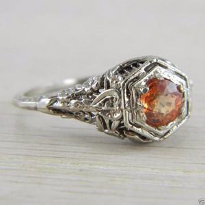 10K White Gold Orange Spinel Solitaire Art Deco Filigree Vintage Ring