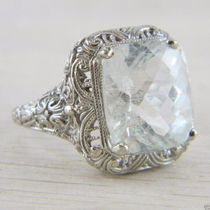 10K White Gold Solitaire Aquamarine Art Deco Filigree Vintage Ring FN-R398