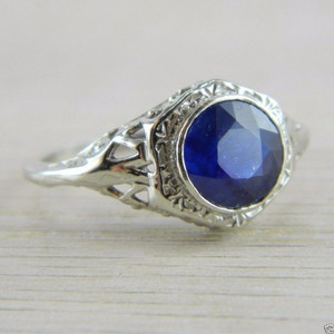 10K White Gold Sapphire Solitaire Art Deco Filigree Vintage Ring FN-R404