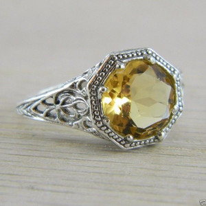 .925 Sterling Silver Citrine Filigree Art Deco Estate Vintage Ring FN-R411