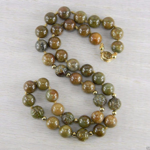 Butterscotch Jade Jadeite Carved Plain Gold Filled Clasp Bead Necklace AN-J88