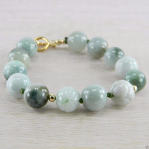 14K Gold Filled Green Jadeite Jade Carved Cabbage Estate Bracelet AN-J89