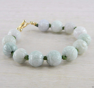14K Gold Filled Carved Cabbage Estate Green Jadeite Jade Bracelet AN-J90