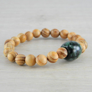 Hand Carved Green Vintage Antique Jadeite Jade Wooden Bead Bracelet FN-B120