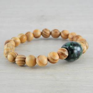 Hand Carved Green Vintage Antique Jadeite Jade Wooden Bead Bracelet FN-B120