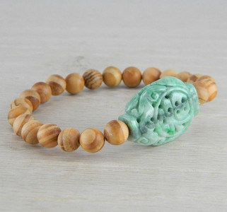 Hand Carved Green Vintage Antique Jadeite Jade Wooden Bead Bracelet FN-B122