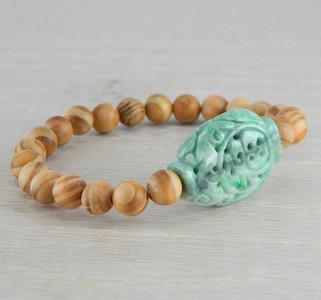 Hand Carved Green Vintage Antique Jadeite Jade Wooden Bead Bracelet FN-B122