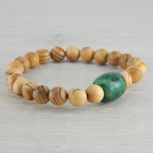 Hand Carved Green Vintage Antique Jadeite Jade Wooden Bead Bracelet FN-B126