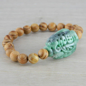 Hand Carved Green Vintage Antique Jadeite Jade Wooden Bead Bracelet FN-B128