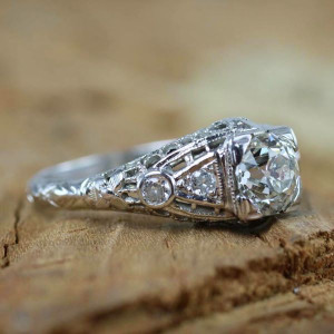 18k white gold Art Deco filigree ring with 0.77 carat GIA certified diamond