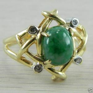 14k Yellow Gold Diamond and Jadeite Antique Estate Jade Vintage Ring