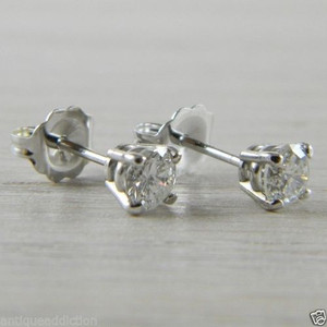 Diamond 0.62 tcw Butterfly Back 14K White Gold RBC Stud Studs Earrings