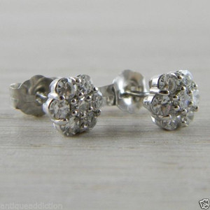 Diamond 0.45 tcw Push on Screw 14K White Gold RBC Flower Studs Earrings
