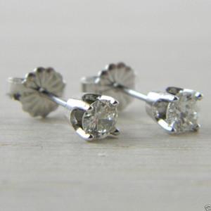 Diamond Butterfly Back 0.52 tcw White Gold Eye Clean Stud Studs Earrings