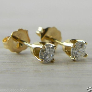Diamond Butterfly Back 0.50 tcw Yellow Gold Eye Clean Stud Studs Earrings