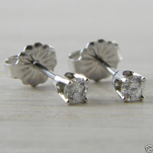 Diamond Butterfly Back 0.23 tcw. Eye Clean Carat Stud Studs Earrings