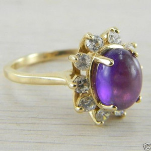 14K Yellow Gold White Sapphire and Amethyst Cabochon Vintage Estate Ring
