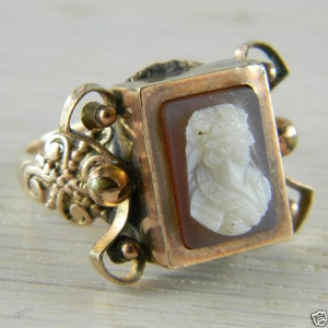 9K Gold Victorian Era Cameo Antique Vintage Estate Ring