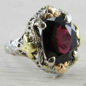 10K White Gold Yellow Gold Rose Gold Garnet Art Deco Vintage Ring